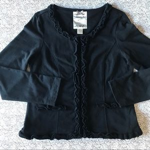 Nick and Mo Black Ruffle Jacket Rayon Size Large
